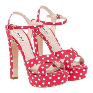 Miu Miu Polka Dot Platform Sandals Size 6/36